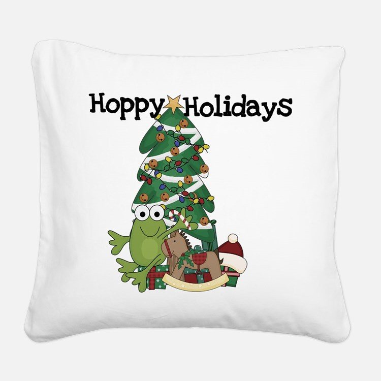 Frog Hoppy Holidays Square Canvas Pillow