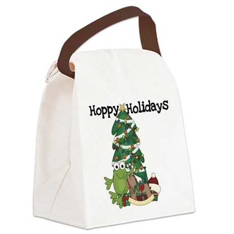 Frog Hoppy Holidays Canvas Lunch Bag