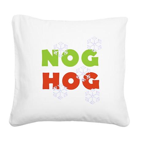 Nog Hog Christmas Square Canvas Pillow
