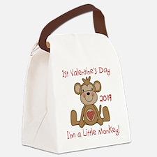 Monkey 1st Valentine Day Canvas Lunch Bag