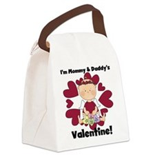 Girl Mommy and Daddy's Valentine Canvas Lunch Bag