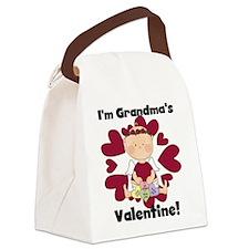 Girl Grandma's Valentine Canvas Lunch Bag