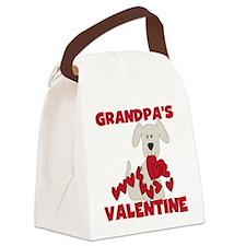 Dog Grandpa's Valentine Canvas Lunch Bag