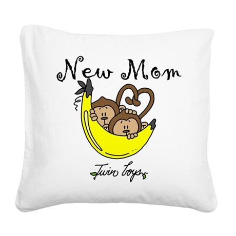 MONKEYTWINBOYSmomm.png Square Canvas Pillow