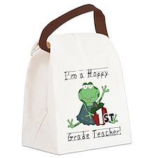 Hoppy 1st Grade Teacher Canvas Lunch Bag