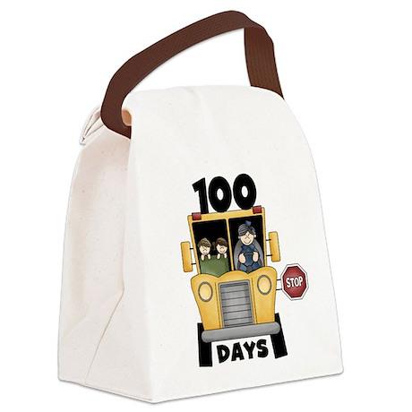 School Bus 100 Days Canvas Lunch Bag