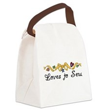 blacklovestosew.png Canvas Lunch Bag