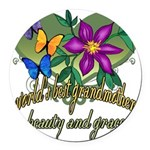 Butterflygrandmother.png Round Car Magnet
