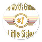 GREENlittlesister.png Round Car Magnet