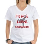 Peace Love Taekwondo Women's V-Neck T-Shirt