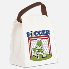 SOCCERFROGTWO.png Canvas Lunch Bag