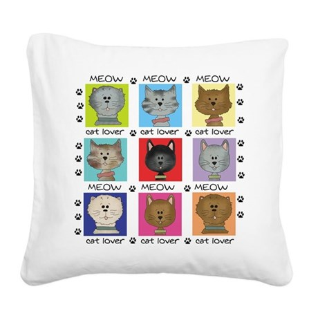 meowcatlover.png Square Canvas Pillow