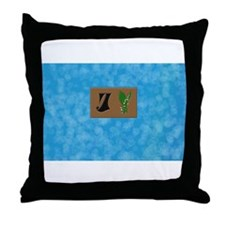 monogram J with lily of the valley Throw Pillow