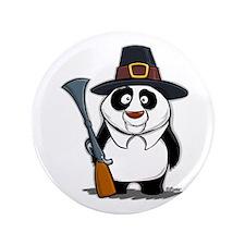 """Thanksgiving Panda Pilgrim 3.5"""" Button"""