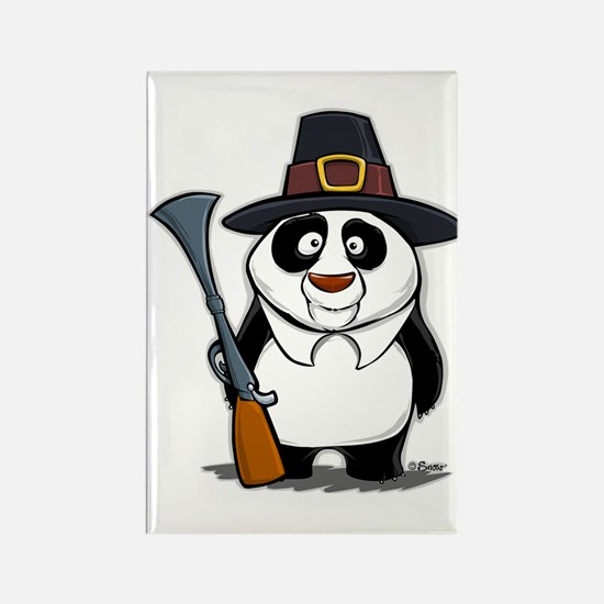 Thanksgiving Panda Pilgrim Rectangle Magnet