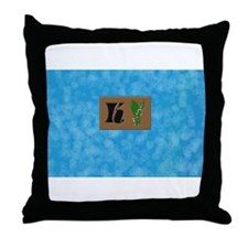 monogram K with lily of the valley Throw Pillow