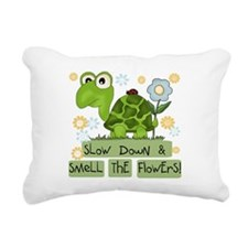 turtleflowers.png Rectangular Canvas Pillow