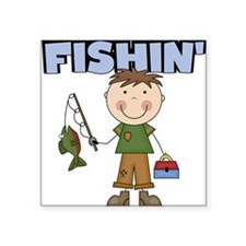 "boyfishin.png Square Sticker 3"" x 3"""