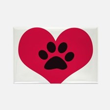 pawprintheartplain Rectangle Magnet