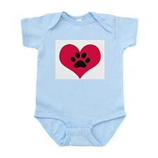 pawprintheartplain Infant Bodysuit