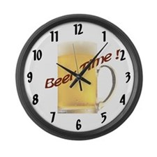 Beer Time Large Wall Clock