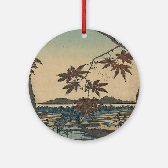 Maple trees at Mama - Hiroshige Ando - 1857 Round