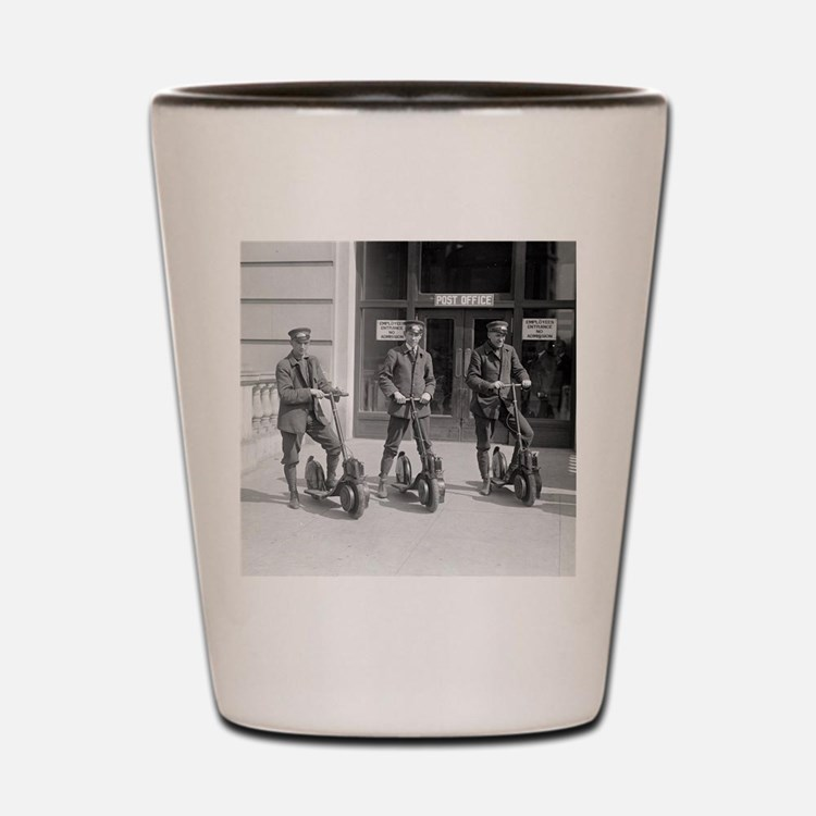 Vintage Postmen On Scooters Shot Glass