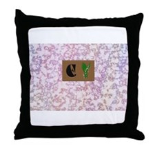 monogram E with lily of the valley Throw Pillow