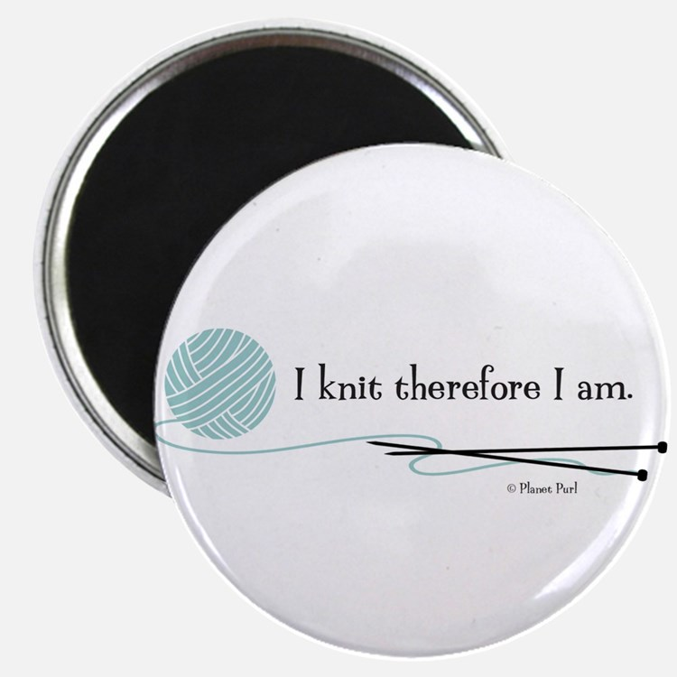 """""""I Knit Therefore I Am"""" 2.25"""" Magnet (10 pack)"""