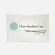 """I Knit Therefore I Am"" Rectangle Magnet"