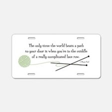 """World Beats a Path"" Aluminum License Plate"