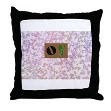 monogram O with lily of the valley Throw Pillow