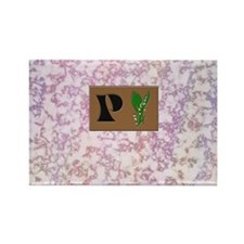 monogram P with lily of the valley Rectangle Magne