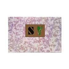 monogram S with lily of the valley Rectangle Magne
