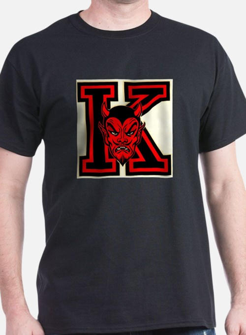 yo hi k with red devil face t shirt