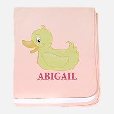 Yellow Duck (Personalized) Baby Blanket - Girl