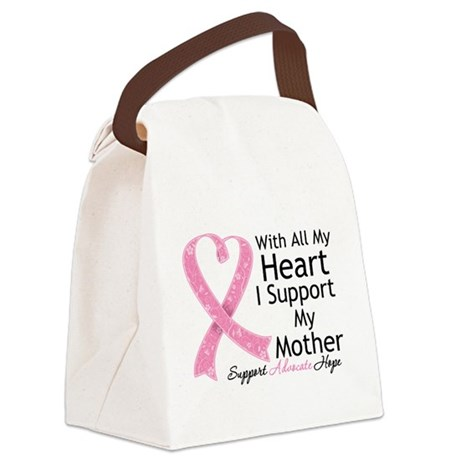 Heart Mother Breast Cancer Canvas Lunch Bag