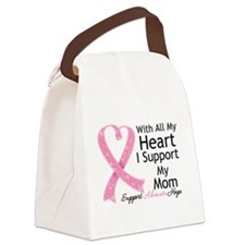 Heart Mom Breast Cancer Canvas Lunch Bag
