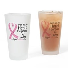 Heart Mom Breast Cancer Drinking Glass