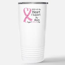 Heart Mom Breast Cancer Travel Mug