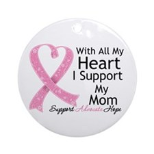 Heart Mom Breast Cancer Ornament (Round)