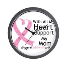 Heart Mom Breast Cancer Wall Clock
