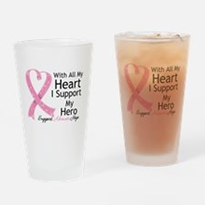 Heart Hero Breast Cancer Drinking Glass