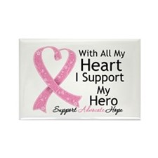 Heart Hero Breast Cancer Rectangle Magnet (10 pack