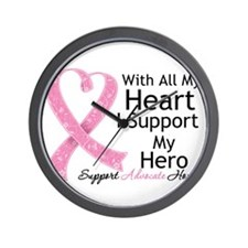 Heart Hero Breast Cancer Wall Clock