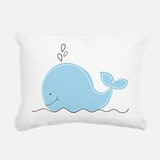 Little Blue Whale Rectangular Canvas Pillow