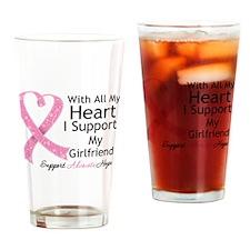 Heart Girlfriend Breast Cancer Drinking Glass