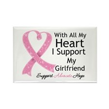 Heart Girlfriend Breast Cancer Rectangle Magnet