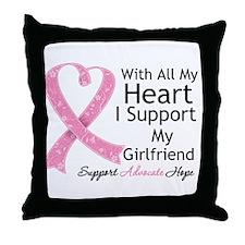 Heart Girlfriend Breast Cancer Throw Pillow