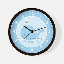 Little Blue Whale Wall Clock - Alexander